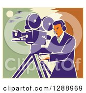 Clipart Of A Retro Professional Male Cameraman Working Over A Green Yellow And Orange Sky Royalty Free Vector Illustration