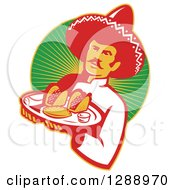 Retro Male Mexican Chef Wearing A Sombrero And Holding A Tray Of Tacos Burritos And Empanadas Over A Circle Of Rays