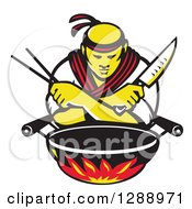 Retro Male Japanese Chef With Crossed Arms A Knife And Chopsticks Over A Wok And Flames