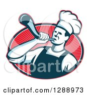 Clipart Of A Retro Male Chef Blowing A Bullhorn In A Red White And Navy Blue Oval Of Rays Royalty Free Vector Illustration