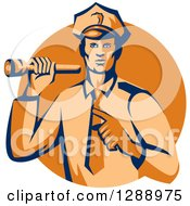 Clipart Of A Retro Male Police Officer Shining A Flashlight And Pointing Over An Orange Circle Royalty Free Vector Illustration by patrimonio