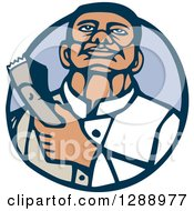 Clipart Of A Retro Woodcut Male Barber Holding Clippers In A Blue Circle Royalty Free Vector Illustration