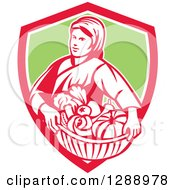 Clipart Of A Retro Female Farmer Holding A Basket Of Harvest Produce In A Red White And Orange Shield Royalty Free Vector Illustration