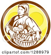Clipart Of A Retro Female Farmer Holding A Basket Of Harvest Produce In A Brown White And Yellow Circle Royalty Free Vector Illustration