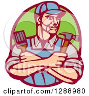 Retro Woodcut Handy Man Holding A Paintbrush And Hammer In A Marroon And Green Oval
