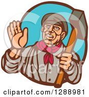 Clipart Of A Retro Woodcut Friendly Male Union Worker Waving And Holding A Sledgehammer In A Brown And Blue Oval Royalty Free Vector Illustration by patrimonio