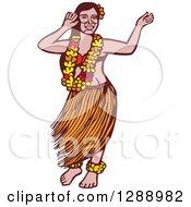 Poster, Art Print Of Retro Woodcut Linocut Polynesian Hawaiian Hula Dancer