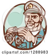 Retro Woodcut Navy Admirial Officer Holding Binoculars In A Brown And Green Oval