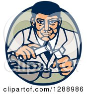 Retro Woodcut Male Scientist Transfering Items In Test Tubes In A Blue And Green Oval