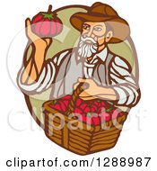 Retro Woodcut Male Farmer Holding A Basket Of Tomatoes And Gazing At One In A Green And Brown Oval