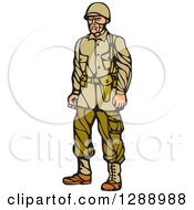Clipart Of A Retro Woodcut Linocut World War Two Soldier In Uniform Royalty Free Vector Illustration