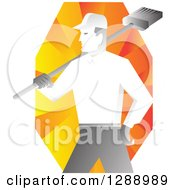 Clipart Of A Retro Male Janitor Holding A Broom Over His Shoulder Over Orange Rays Royalty Free Vector Illustration