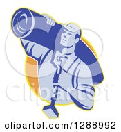 Clipart Of A Retro Blue Male Carpet Layer Carrying A Roll And Knee Kicker Tool In A Yellow And Orange Circle Royalty Free Vector Illustration by patrimonio