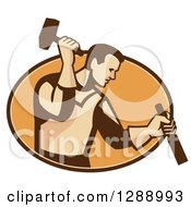 Clipart Of A Retro Male Carpenter Holding A Hammer And Chisel In A Brown And Orange Oval Royalty Free Vector Illustration by patrimonio