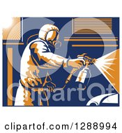 Clipart Of A Retro Suited Up Worker Spray Painting A Car With A White Border Royalty Free Vector Illustration