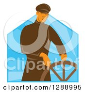 Clipart Of A Retro Male Sea Captain At The Helm Wheel Over Blue Rays Royalty Free Vector Illustration by patrimonio