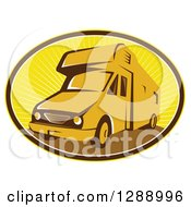 Clipart Of A Retro Camper Van In A Brown White And Yellow Sunshine Oval Royalty Free Vector Illustration by patrimonio