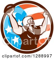 Clipart Of A Retro American Football Player Scoring A Touchdown In An American Circle Royalty Free Vector Illustration