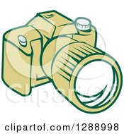 Clipart Of A Retro Green Dslr Camera Royalty Free Vector Illustration