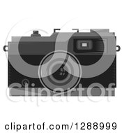 Clipart Of A Grayscale Retro Camera Royalty Free Vector Illustration