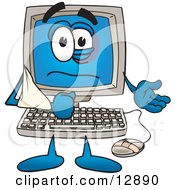 Desktop Computer Mascot Cartoon Character With His Arm In A Sling