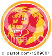 Clipart Of A Retro Roaring Lion Head In An Orange White And Red Circle Royalty Free Vector Illustration