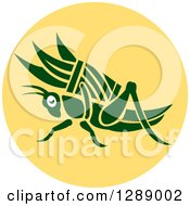 Clipart Of A Retro Green Grasshopper With A Basket Of Grass In A Yellow Circle Royalty Free Vector Illustration by patrimonio