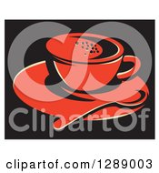 Red Coffee Cup On A Saucer With A Spoon Over Black With A White Border