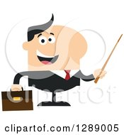 Clipart Of A Modern Flat Design Of A Happy White Business Man Holding A Pointer Stick Royalty Free Vector Illustration