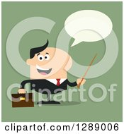 Clipart Of A Modern Flat Design Of A Happy Talking White Business Man Holding A Pointer Stick Over Green Royalty Free Vector Illustration