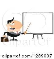 Clipart Of A Modern Flat Design Of A Happy White Businessman Using A Pointer Stick By A Presentation Board Royalty Free Vector Illustration