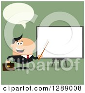 Clipart Of A Modern Flat Design Of A Talking White Businessman Using A Pointer Stick By A Presentation Board Over Green Royalty Free Vector Illustration