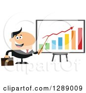 Clipart Of A Modern Flat Design Of A Happy White Business Man Discussing Company Growth With A Bar Graph Royalty Free Vector Illustration