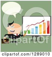 Clipart Of A Modern Flat Design Of A Happy Talking White Business Man Discussing Company Growth With A Bar Graph Over Green Royalty Free Vector Illustration