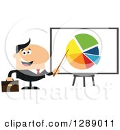 Clipart Of A Modern Flat Design Of A Happy White Businessman Pointing To A Pie Chart On A Presentation Board Royalty Free Vector Illustration