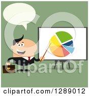 Clipart Of A Modern Flat Design Of A Talking Happy White Businessman Pointing To A Pie Chart On A Presentation Board Over Green Royalty Free Vector Illustration