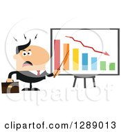 Clipart Of A Modern Flat Design Of An Angry White Business Man Discussing Company Growth With A Bar Graph Royalty Free Vector Illustration