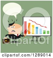 Clipart Of A Modern Flat Design Of An Angry Talking White Business Man Discussing Company Growth With A Bar Graph Over Green Royalty Free Vector Illustration