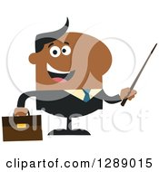 Clipart Of A Modern Flat Design Of A Happy Black Business Man Holding A Pointer Stick Royalty Free Vector Illustration by Hit Toon
