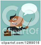 Clipart Of A Modern Flat Design Of A Happy Talking Black Business Man Holding A Pointer Stick Over Turquoise Royalty Free Vector Illustration