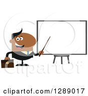 Clipart Of A Modern Flat Design Of A Happy Black Businessman Using A Pointer Stick By A Presentation Board Royalty Free Vector Illustration by Hit Toon