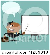 Clipart Of A Modern Flat Design Of A Talking Black Businessman Using A Pointer Stick By A Presentation Board Over Turquoise Royalty Free Vector Illustration