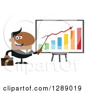 Clipart Of A Modern Flat Design Of A Happy Black Business Man Discussing Company Growth With A Bar Graph Royalty Free Vector Illustration
