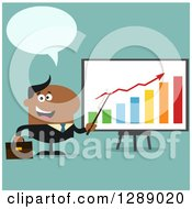 Clipart Of A Modern Flat Design Of A Happy Talking Black Business Man Discussing Company Growth With A Bar Graph Over Turquoise Royalty Free Vector Illustration