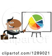Clipart Of A Modern Flat Design Of A Happy Black Businessman Pointing To A Pie Chart On A Presentation Board Royalty Free Vector Illustration