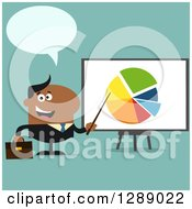 Clipart Of A Modern Flat Design Of A Talking Happy Black Businessman Pointing To A Pie Chart On A Presentation Board Over Turquoise Royalty Free Vector Illustration