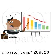 Clipart Of A Modern Flat Design Of An Angry Black Business Man Discussing Company Growth With A Bar Graph Royalty Free Vector Illustration by Hit Toon
