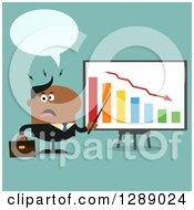 Clipart Of A Modern Flat Design Of An Angry Talking Black Business Man Discussing Company Growth With A Bar Graph Over Turquoise Royalty Free Vector Illustration