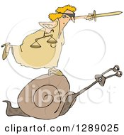 Clipart Of A Blindfolded Lady Justice Holding A Sword And Scales And Riding A Slow Snail Royalty Free Vector Illustration