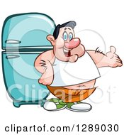 Cartoon Fat Caucasian Man Presenting And Leaning Against A Retro Refrigerator